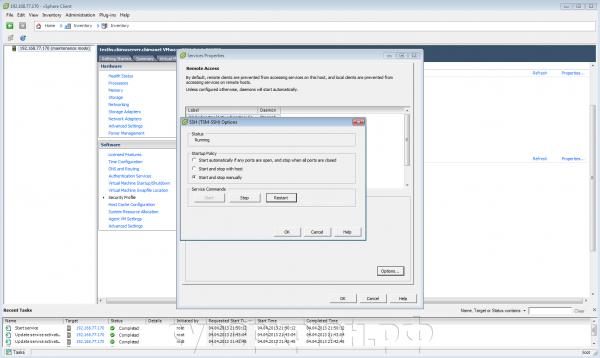 Окно vSphere Client - SSH-сервис запущен