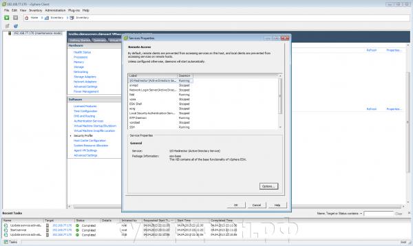 Окно vSphere Client - SSH-сервис работает