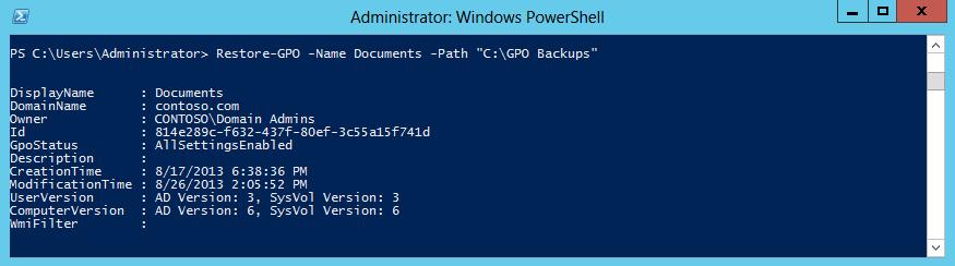 восстановление новейшей версии GPO из PowerShell